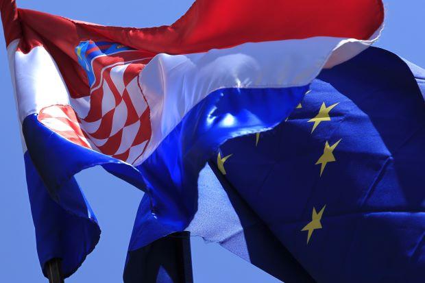 Flaga Chorwacji i Unii Europejskiej