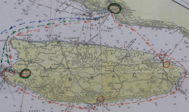 Trasa rejsu wokół wyspy Brač