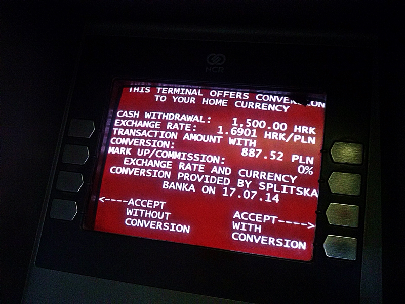 Bankomaty w Chorwacji