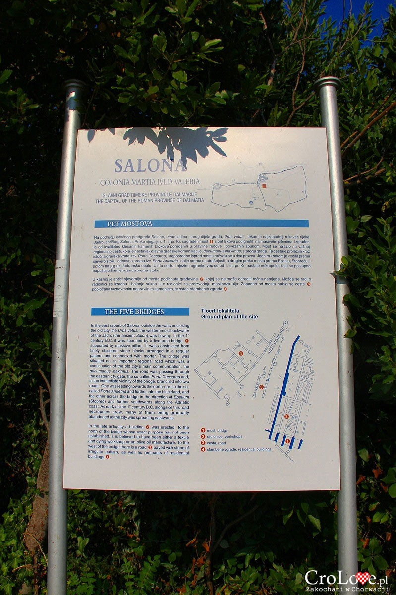 Plan mostu z pięcioma łukami na rzece Jadro w Salonie