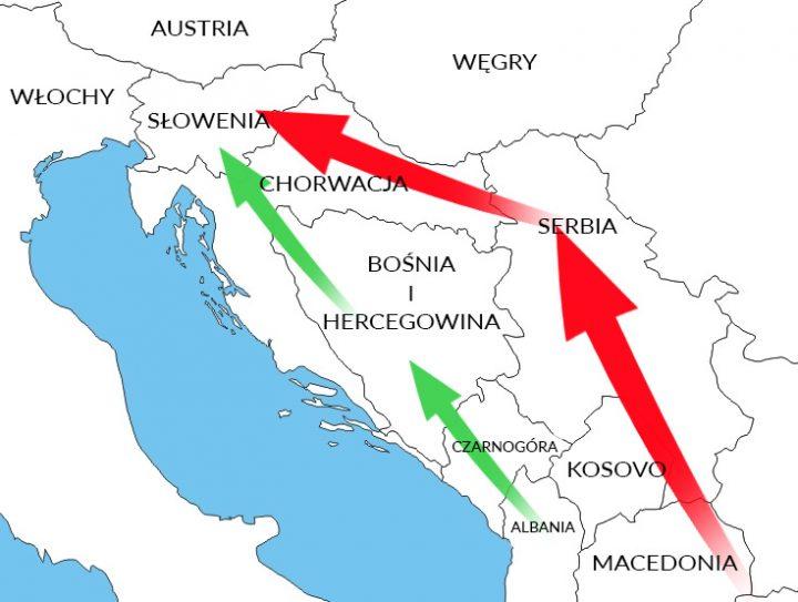 Trasy migracji uchodźców. Kolor czerwony: obecna trasa. Kolor zielony: przypuszczalna nowa trasa w 2016r.