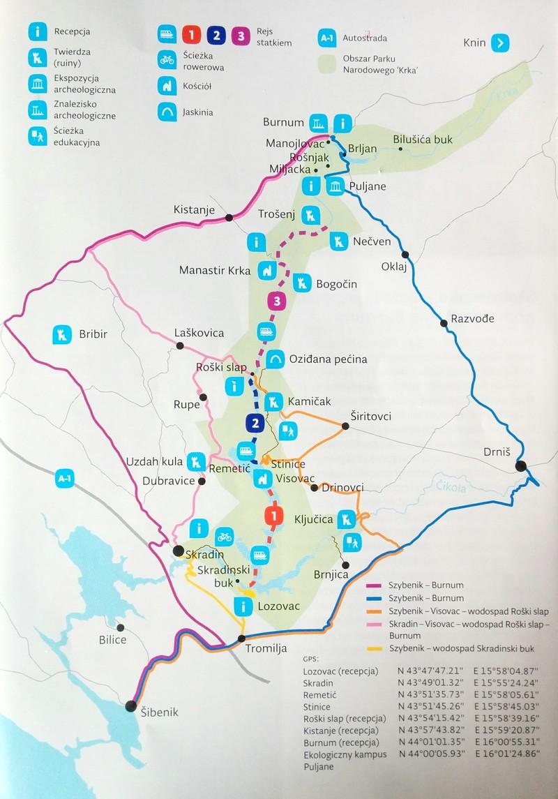 Mapa Parku Narodowego Krka