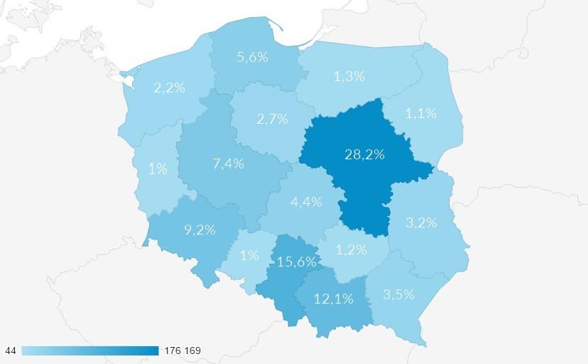 Dane geograficzne dla CroLove za 2016