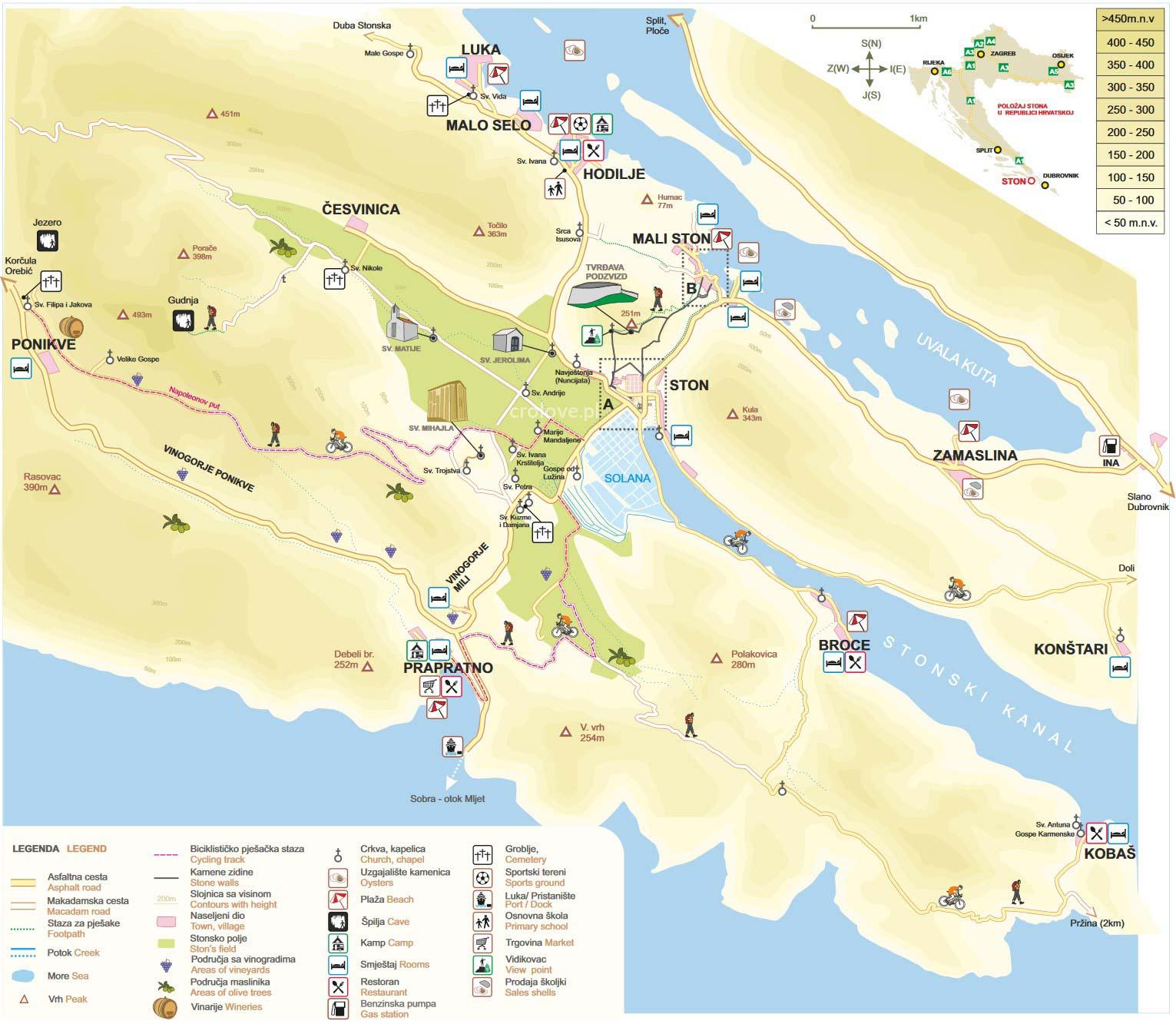 Plan murów w Ston i Mali Ston