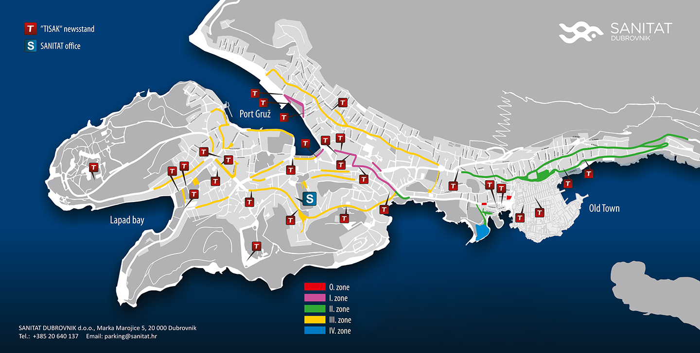 Mapa parkingów w Dubrowniku