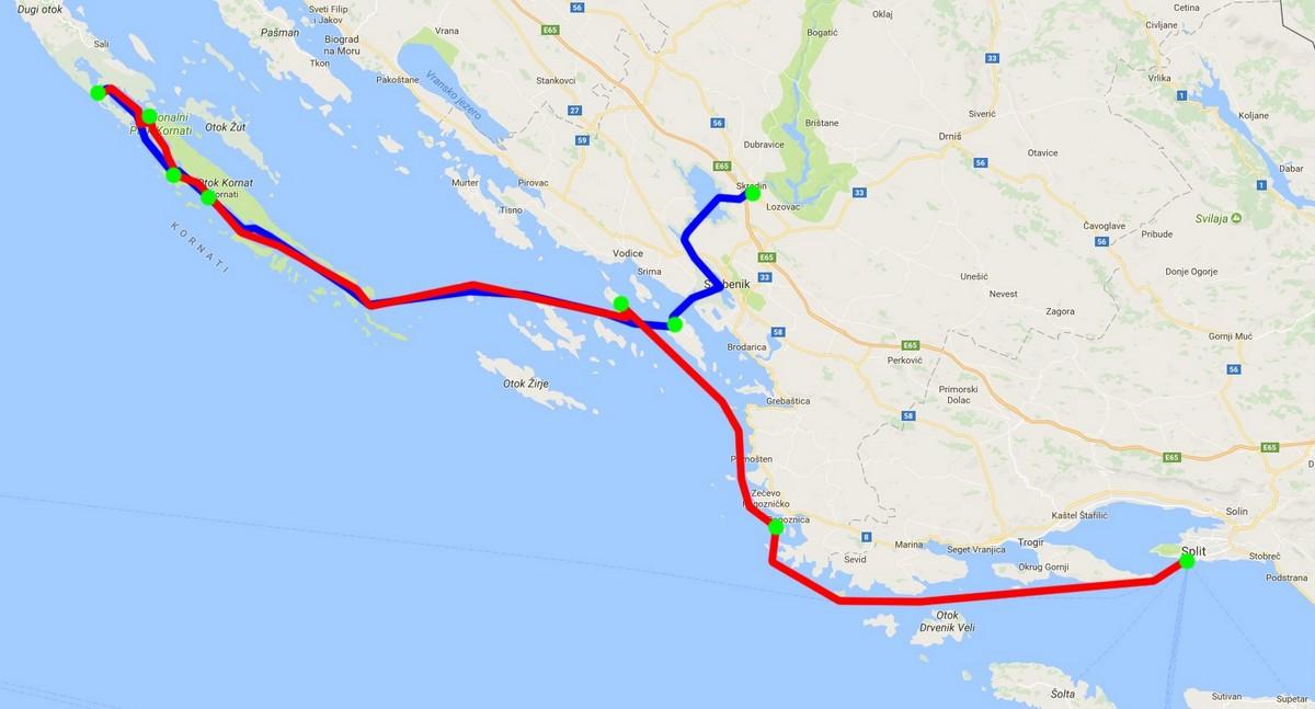 Trasa rejsu jachtem po Chorwacji 2017