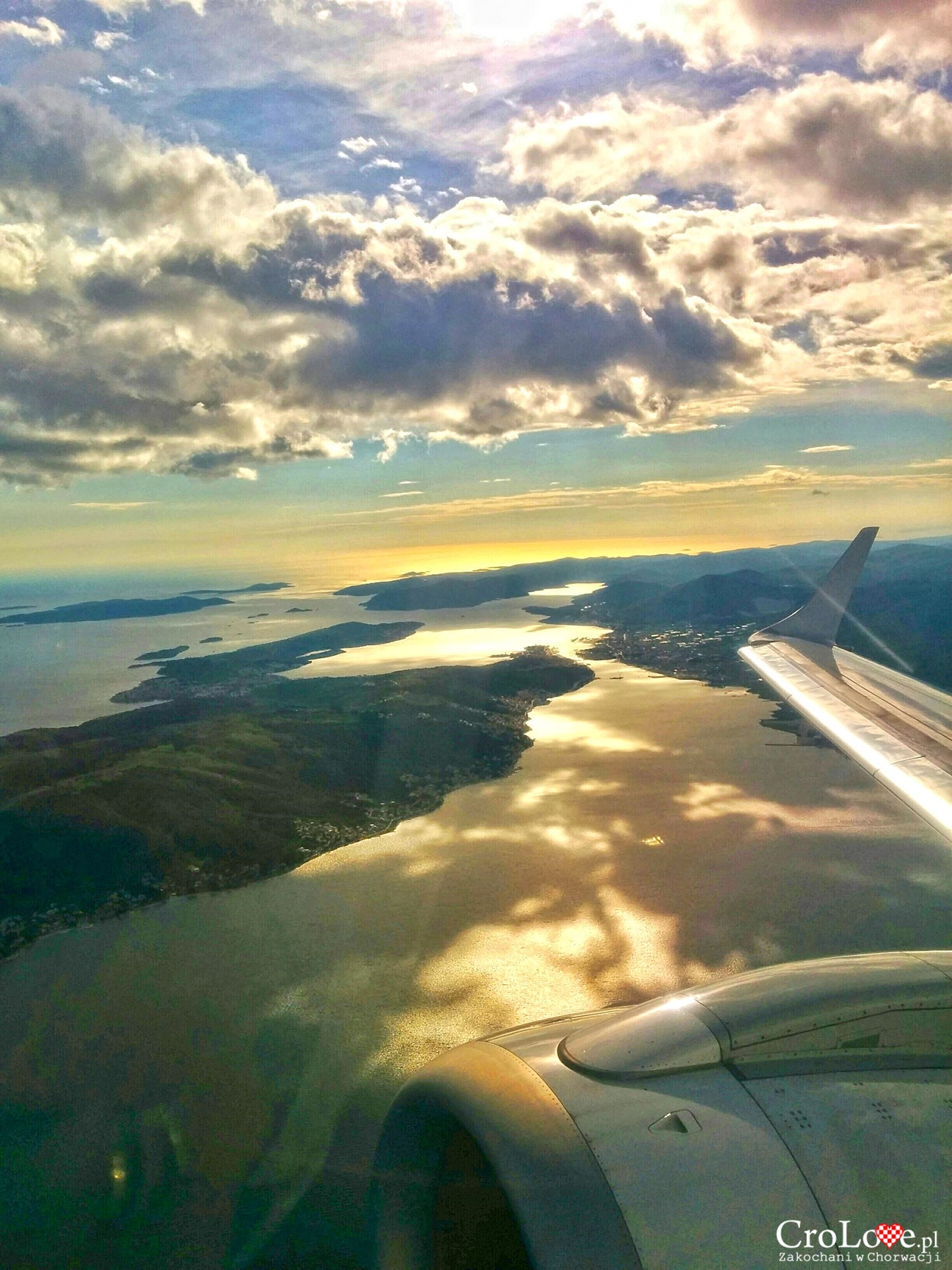 Widok z samolotu na wyspę Čiovo