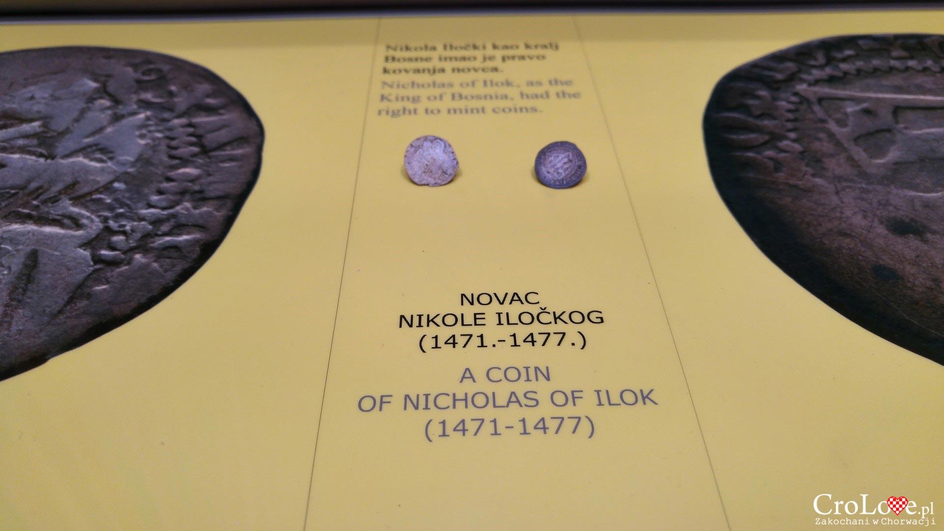 Moneta z chorwacką kratą. Zamek, obecnie muzeum. Twierdza w Iloku