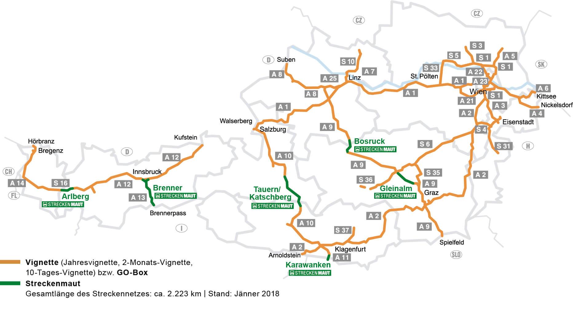 Mapa autostrad w Austrii