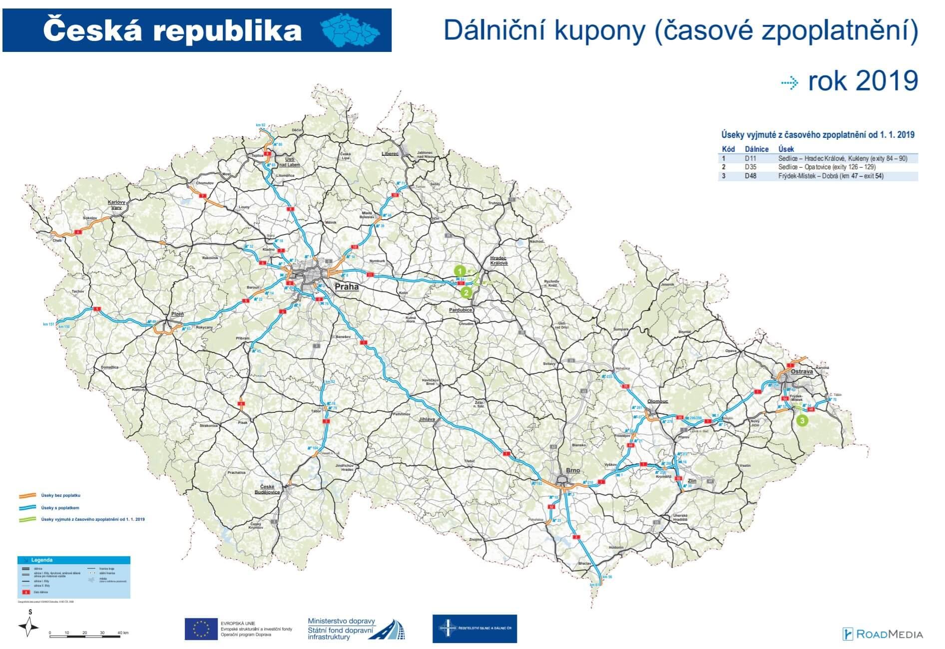 Mapa autostrad w Czechach