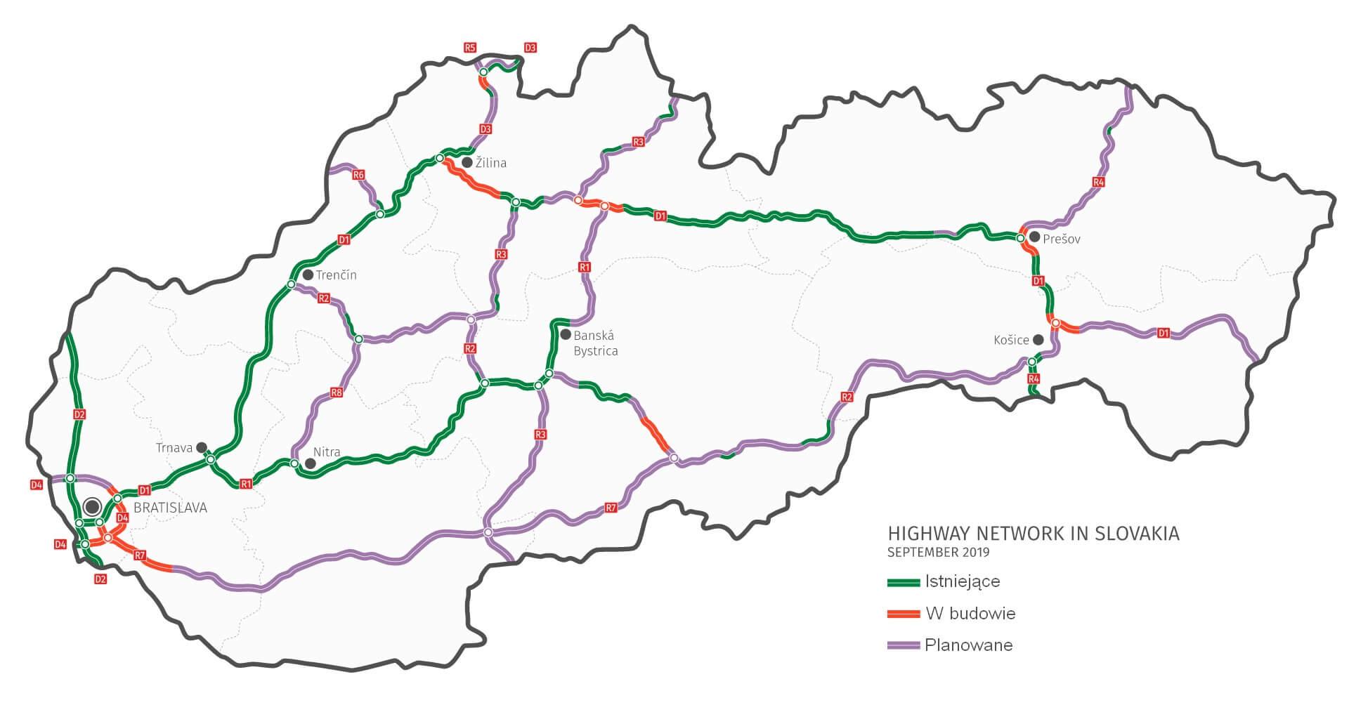 Mapa autostrad na Słowacji