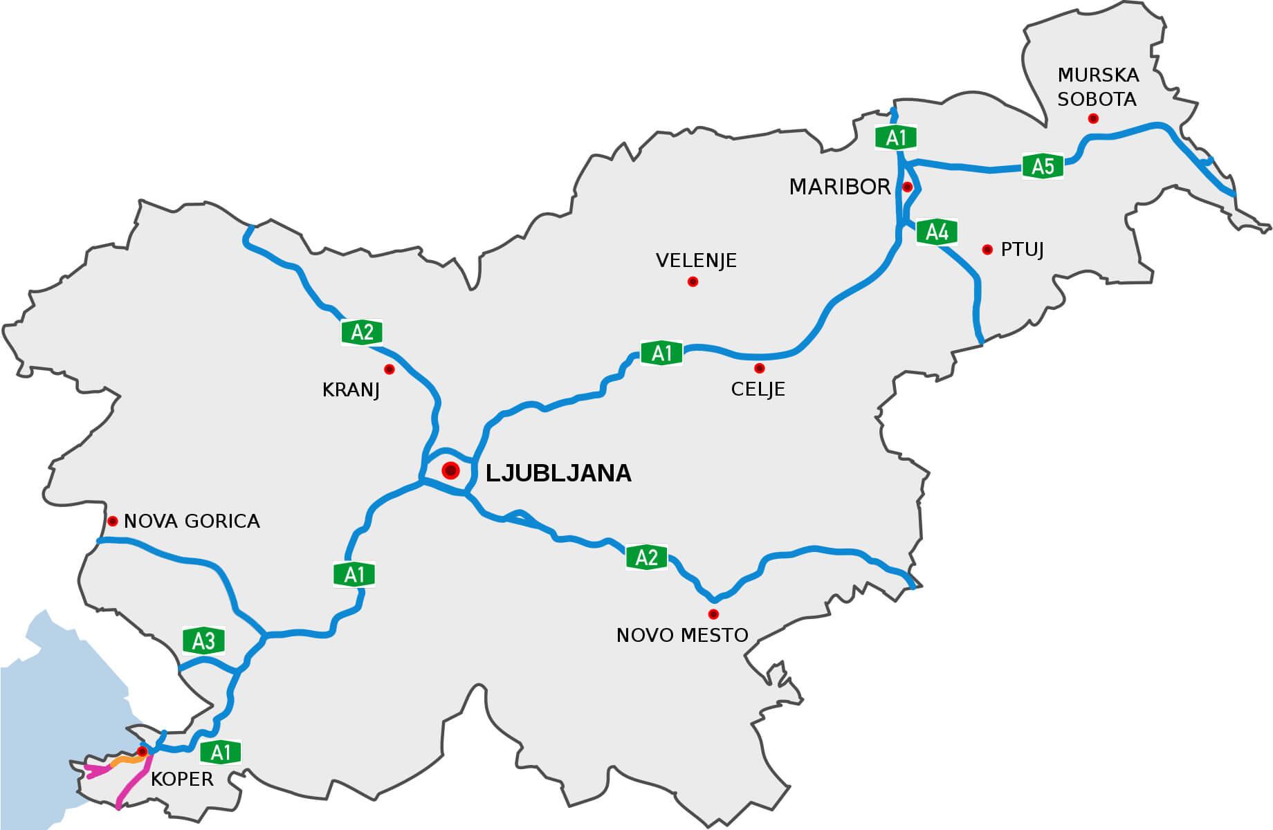 Plan sieci autostrad i dróg ekspresowych w Słowenii w 2018