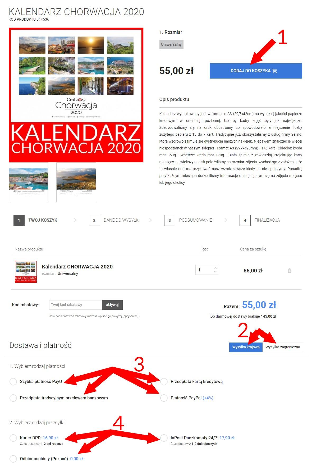 Jak zamawiać kalendarz Chorwacja 2020