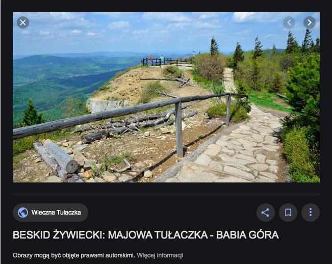 """Jedno z pierwszych zdjęć, jakie wyświetla się na frazę """"Babia Góra"""" pochodzi z bloga wiecznatulaczka.pl"""