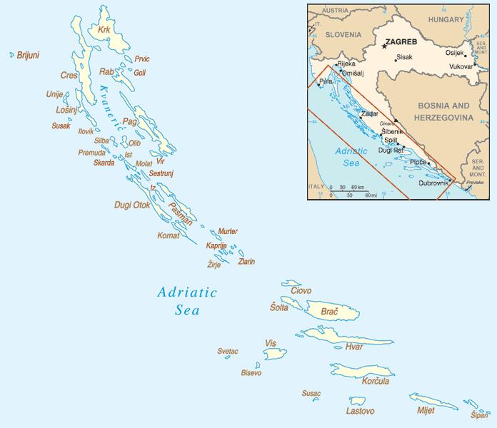 Mapa wysp w Chorwacji