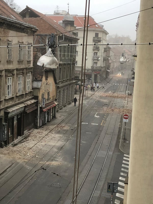 Ulice Zagrzebia po trzęsieniu